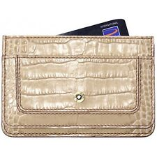 NEW MONTBLANC BEIGE SAND LEATHER DESIGNER MEISTERSTUCK PEN CREDIT CARD WALLET