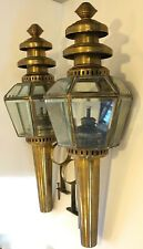 Vintage Pair Railway Train Carriage Lamps Wall Sconces Kerosene Oil Brass Glass