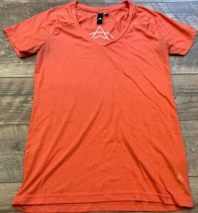ADIDAS Pink WANDERLUST V-Neck Gym Yoga Athletic Shirt Top womens Medium MD