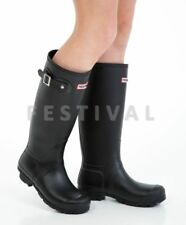 WOMENS LADIES FLAT FESTIVAL WELLIES WELLINGTON RAIN BOOTS SIZE 5 UK - Black Matt