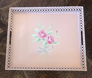 Reduced!!!  VINTAGE PAINTED TOLE TRAY PINK BUTTERFLIES WHEAT ROUND