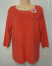 Karen Scott Pink 3/4 Sleeve Sweater Crochet Flower Pin Accent Boat Neck Sz M