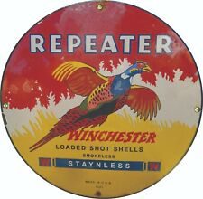 Porcelain Winchester Repeater Enamel Sign Size 20
