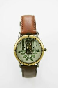 Relic Watch Mens Stainless Steel Silver Gold Antiqued Brown Leather Golf Quartz