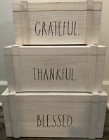 Rae Dunn White Washed Wood Box Hinged Lid Set ~Grateful Thankful & Blessed~ NEW~