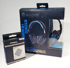 Sades SA-708 Stereo Headset w/ Microphone, with Sabrent USB Adapter for Mac!