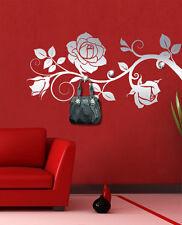 00473 Wall Sticker Appendiabiti Gioiello 3 Pomelli Swarovski Rosa Ramo 115x56cm