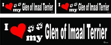 3 I love my Glen of Imaal Terrier dog bumper vinyl stickers 1 large 2 small