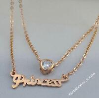 18 Karat Goldkette Damen Halskette mit Anhänger Zirkonia Collier Prinzessin  34€