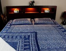 Hand Block Print Reversible Duvet Cover Queen Blue Cotton Floral Indigo Dabu