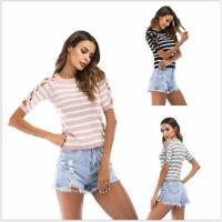 Shirt Summer stripe Fit Short Sleeve Blouse Slim Top Women Casual T-Shirt