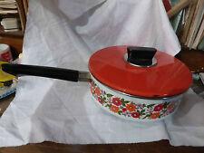 Ancienne sauteuse à couvercle 70 vintage, rouge à décor fleuri état exceptionnel