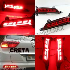 For CRETA Car Rear Bumper LAMBO STYLE Reflector Safety  tail Brake RED Led 2 Pc
