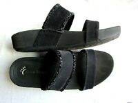 Bare Traps Sandals Black Slide Womens Size 7 Beaded Wedge Sole