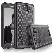 LG X Power 2 Rubber Heavy Duty Dual Layer Impact Shockproof Hybrid Case - Black