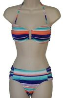 Bar III bikini set swimsuit size M multi-color striped bandeau hipster nwt