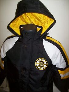 BOSTON BRUINS STARTER PRO LINE Hooded Winter Jacket  S M L XL 2X BLACK/YEL