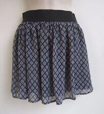 FOREVER 21 Stretch Waist Floral Print Chiffon Mini Skirt - Blue - Size XS - NWT
