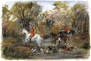 FOX HUNTERS IN LANDSCAPE Watercolour Painting c1980 IMPRESSIONIST
