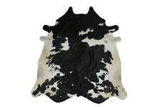 Cowhide Rug Black and White 5x5 ft Genuine Real Cow Skin Hair on Leather Pattern