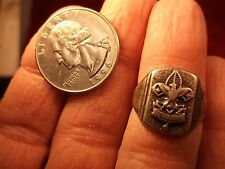 "VERY OLD VTG ANTIQUE? STERLING SILVER BOY SCOUTS RING ""BE PREPARED"" - CUT BAND"