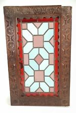 Antique Reclaimed Cabinet Door Stained Leaded Glass Handcarved Wood E/0373