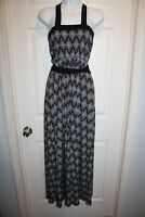 Banana Republic Wrap Dress Sz Small S Long Belted Sleeveless Black White