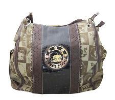 Betty Boop Logo Print Brown Canvas & Faux Leather Shoulder Style Purse Handbag