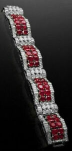 Solid 925 Sterling Silver Round Baguette New Bracelet Jewelry Women Party Gft