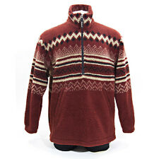 Woolrich Thick Fleece Sweater 1/2 Zip Pullover Winter Hiking Scene Sz LG,USA VTG