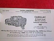 1957 CADILLAC CARTER 2479S & 2480S, AFB 4BBL CARBURETOR SPEC & INFO SHEET