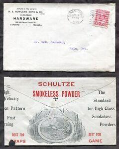 p1168 - TORONTO 1910 ADVERTISING Cover - Schultze Smokeless Gun Powder Hunting ✉