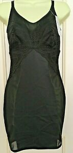 M&S BLACK NO WIRES NO PADDING SMOOTHLINES BODY SHAPING FULL CONTROL SLIP 16