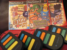 Buzz Ps2 - 3 Games & Buzzers : Big Quiz + Music Quiz  + Monster Rumble