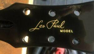 Gibson Les Paul Guitar Headstock Decal, Die-Cut Vinyl, OEM Size, Metallic Gold