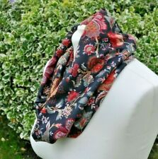 Snood/cowl Scarf in soft jersey flowers green, red, pink, ivory on black