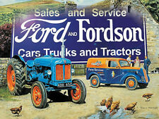 VINTAGE STYLE METAL WALL SIGN TIN PLAQUE FORD AND FORDSON TRACTOR PICTURE FARM