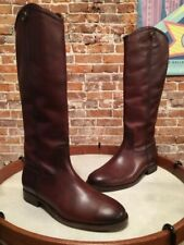 Frye Redwood Brown Leather Melissa Button 2 Riding Boots NEW