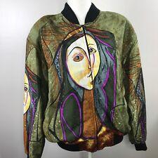 Pablo Picasso Medium Vintage Satin Bomber Jacket Juhli Green Purple Orange