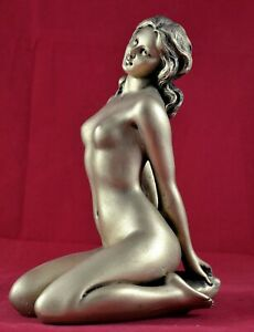 Nude Female Greek Muse Goddess Venus Aphrodite Statue Marble Gold Patina