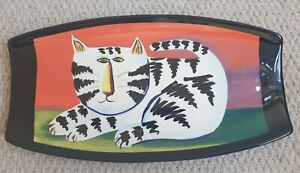 Vintage Ceramic Studio Art White & Black Cat Wall Plaque Platter - Perfect
