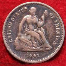 1861 Philadelphia Mint Silver Seated Half Dime