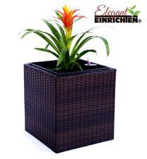 Pflanzkübel Polyrattan quadratisch 38x38x40cm Coffee braun