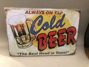 Nostalgie Blech Schild Beer Bier always on tap cold beer  20 x 30 42005
