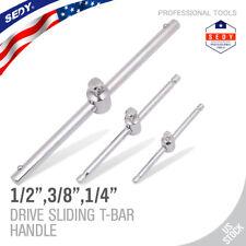 """Drive Sliding T-Handle Socket Wrench 1/2"""" 3/8"""" 1/4"""" Breaker Bar Steel Heavy Duty"""