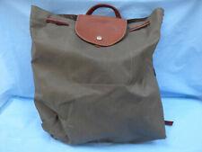 Longchamp Le Pliage Khaki Nylon Leather Trim Backpack Rucksack Medium