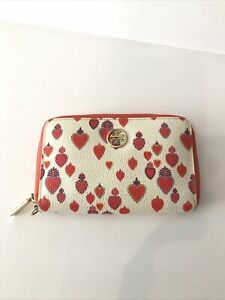 Tory Burch Wallet Cream with Coral Pink Hearts