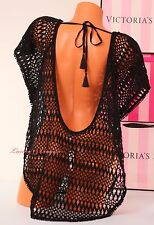 $98 VICTORIA'S SECRET All-over Crochet Cover-Up Poncho VS Dress S Small Black