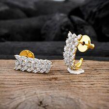 Gold Plated Half Hoop Earrings Cubic Zirconia Ear Stud Jewelry For Women Girls