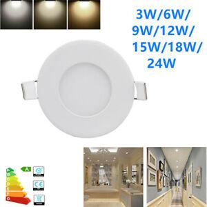 LED Recessed Ceiling Panel Down Light 3W 6W 9W 12W 15W 18W 24W Slim Lamp Fixture